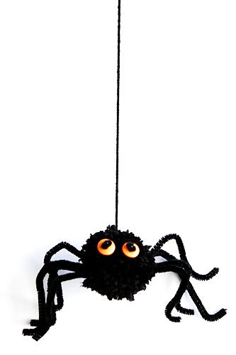 Yarn Pom Pom Spiders to make for Halloween